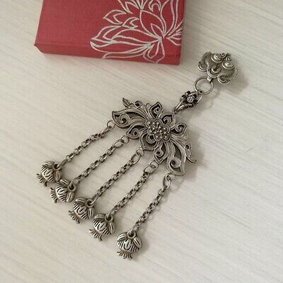 Tribal hand-carved miao silver costume handing ornament butterfly pendant 1piece