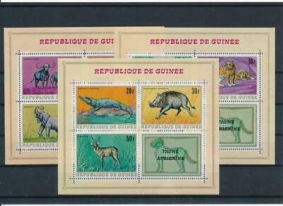 [G47888] Guinea 1968 : Fauna - Good Set of 3 Very Fine MNH Sheets - $25
