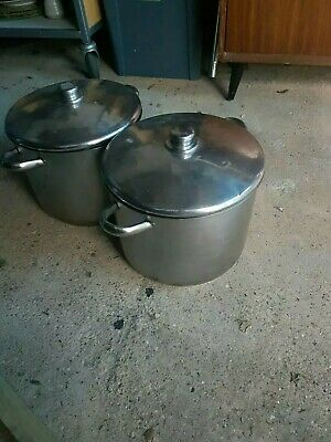 Two Large Catering Stock Pans With Lids