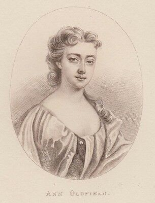 c1850 Three Antique Portraits- Anne Oldfield - English Actress - Theatrical Idol