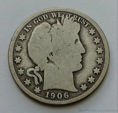 1906-D 90% Silver Barber Half Dollar Good Condition