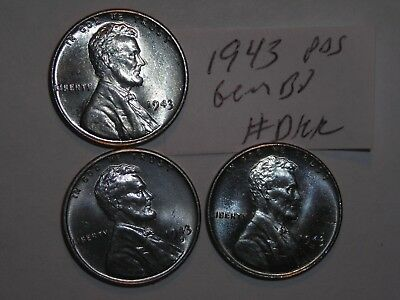 wheat penny 1943,1943-D,1943-S LINCOLN STEEL CENT ORIGINAL GEM BU SET 1943S UNC