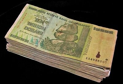 25 x Zimbabwe 10 Trillion Dollar banknotes- LOW GRADE/VERY USED CONDITION