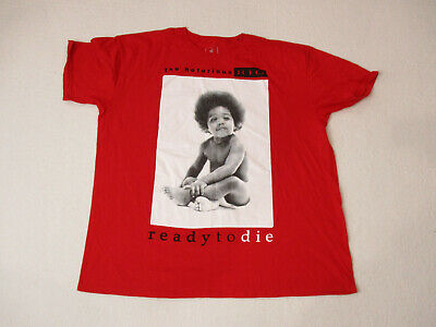 Notorious BIG Ready To Die Shirt Adult 2XL XXL Red Biggie Smalls Hip Hop Rap