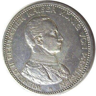 elf Germany Prussia 5 Mark 1914 A  Silver   Kaiser  World War I