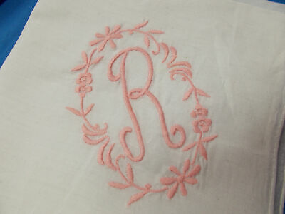 Vintage Antique HAND EMBROIDERED Pink MONOGRAMMED R White SOFT LINEN Hanky 13X13