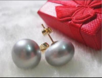 elegant AAA 7-8mm real natural south sea gray bread pearl earrings 14k Gold
