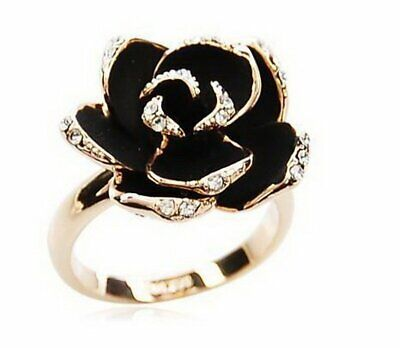 Fashion Rhinestone Black Rose Open Ring Women Wedding Jewelry Party Gift New Hot