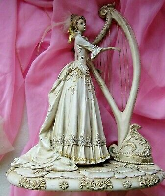 """FIGURINE """" LADY with HARP """" 15 inch (38cm) VINTAGE"""