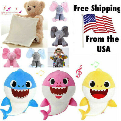 Babys Shark Elephant Plush Singing Song Toy Cartoon Music Doll Musical Toy Gift
