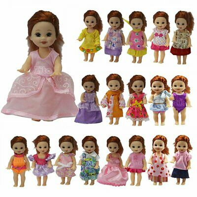 5Sets Doll Dress Jumpsuits Outfit Clothes Suit For Little 4 Inch Girl Dolls Gift