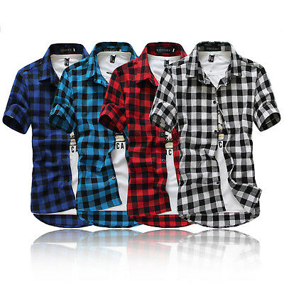 Men T-Shirt Plaid Check Short Sleeve Basic Tops Tee Button New Essential Vintage