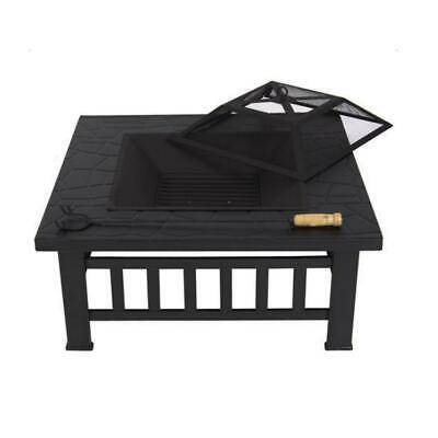 Outdoor Fire Pit Square Stove Patio Backyard Heater Fireplace Metal Black Piato