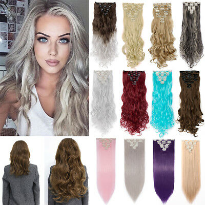 UK Real Long Clip in Hair Extensions Thick as Real Hair Full Head Straight Curly
