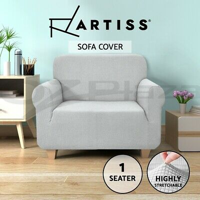 Artiss High Stretch Sofa Cover Couch Lounge Protector Slipcovers 1 Seater Grey