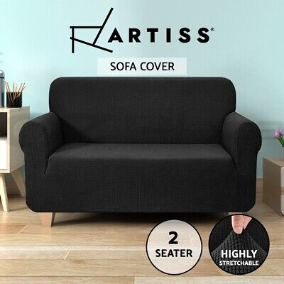 Artiss High Stretch Sofa Cover Couch Lounge Protector Slipcovers 2 Seater Black