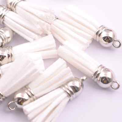 5pcs white  Silver-Tone-Metal-Top-Tassels-Terylene-Velvet-Pendant-for-jewer