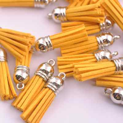10pcs Gold Silver-Tone-Metal-Top-Tassels-Terylene-Velvet-Pendant-for-jewer