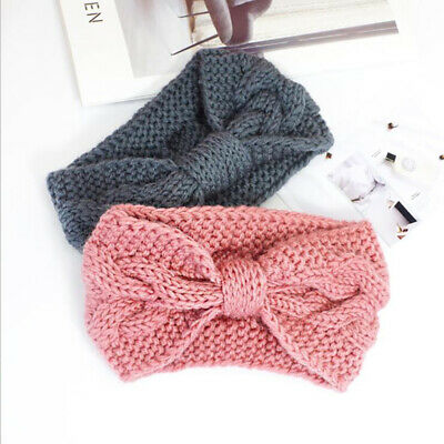 Womens Girls Lovely Sweet Ribbon Bow Knitted Wide Hair Band Headband CB