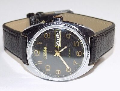 """Vintage Russian Watch """"SLAVA """" 21 RUBY 1980 Classic USSR ,Day &Date #2510152"""