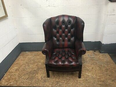 Stunning Oxblood Leather Chesterfield Wingback Armchair Queen Anne UK DELIVERY