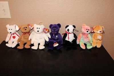 TY BEANIE BABY ORIGINAL RETIRED TEDDY BEAR LOT of 7 PEACE CURLY HOPE  PRINCESS 4b5a2060fd86