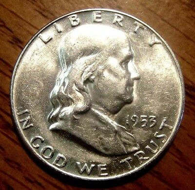 1953-D Franklin Silver Half Dollar Nice About Uncirculated Coin #1