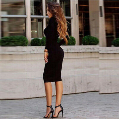 Women's Solid Long Sleeve O-neck Bag Hip Skinny Dress Long Sleeve Top CB