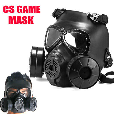 Double Filter Fan Airsoft Gas Mask CS Edition Perspiration Dust Face Guard Mask