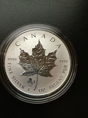 2014 1 oz Silver Canadian Maple leaf Horse Privy in Capsule