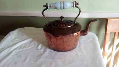 Lovely Vintage Old Antique Copper Kettle Collectable ceramic handle