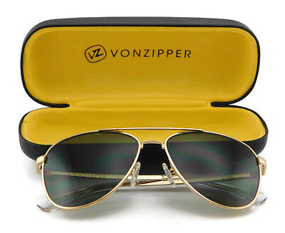 40492ee6c3 Von Zipper STATEY Aviator Sunglasses Gold Gloss with Vintage Grey Lens GGN