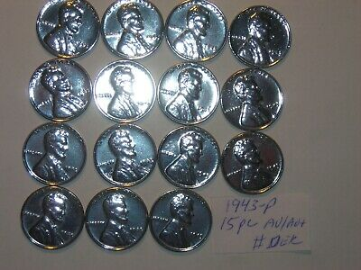 wheat penny 1943 STEEL LOT OF 15 AU/AU+ 1943-P  UNC LINCOLN CENTS PARTIAL ROLL