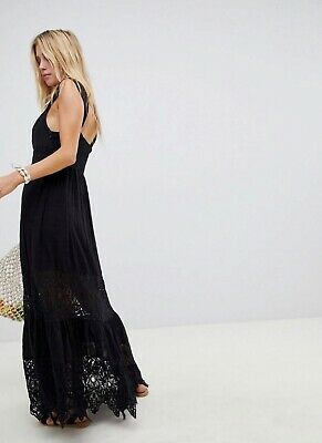 Free People Caught Your Eye Maxi Dress Tiered Lace Sheer Sweetheart OB792976