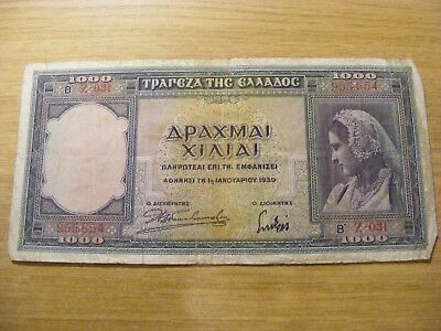 1939 Greece 1,000  Drachmai Banknote, used but still crisp
