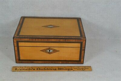 antique sewing box Victorian maple MOP inlaid compartments  1800