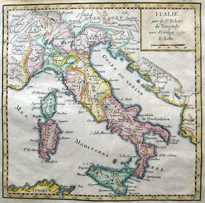 ITALY  BY ROBERT DE VAUGONDY  c1781  GENUINE COPPER ENGRAVED  ANTIQUE MAP