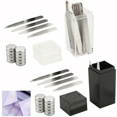 40 Metal Collar Stays + 10 Magnets For Men Shirt 4 Various Sizes In Plastic Box