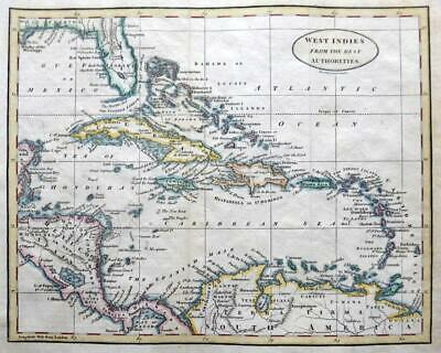 WEST INDIES  BY BENJAMIN BAKER c1797 GENUINE ANTIQUE COPPER ENGRAVED MAP