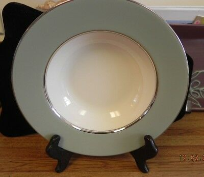 Castleton China.. Lyric.. Rimmed Soup Bowl..gray And Silver Trim