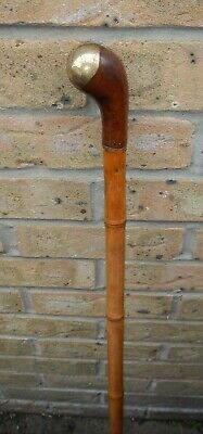 Antique Bamboo Walking Stick With Wooden & Weighted Brass Pistol Grip Top