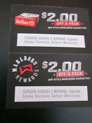 TWO MARLBORO CIGARETTE COUPONS -- $2.00 Off a Pack - Exp. 4/30/19 - ANY STYLE