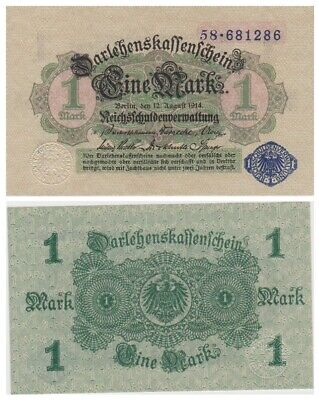One Mark German banknote issued in 12.08.1914 aunc