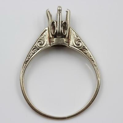 Vintage 14K White Gold Fancy Engraved Solitaire Engagement Mount For .40Ct