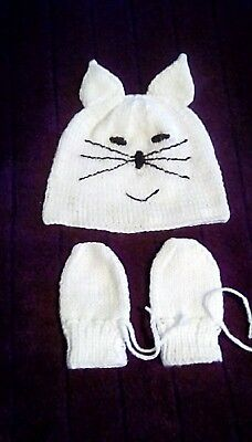 hand knitted baby white  rabbit hat and mittens 6-12 months