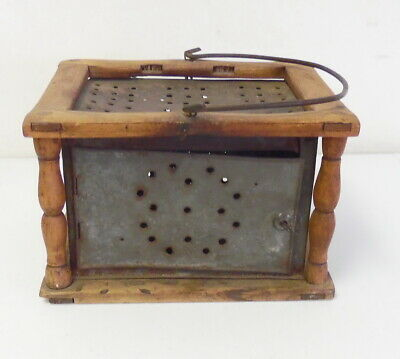 Antique Primitive 1860's Country Wood & Tin Pierced Foot Warmer w/ Handle
