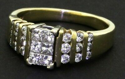 Heavy 14K yellow gold 1.19CT diamond cluster cocktail ring size 8.75