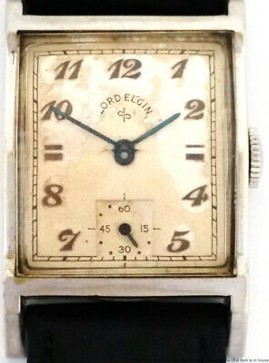 Scarce Lord Elgin 14K White Gold Filled Vintage Curved Mens Wristwatch