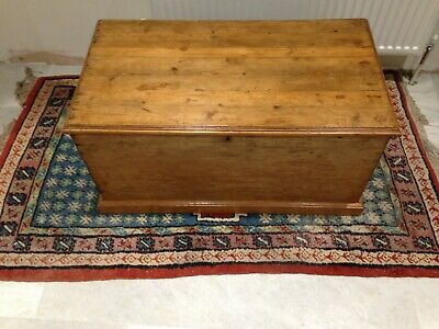 """Vintage Pine Blanket Box Large Size, Double Candle trays fully restored. 36.5"""" W"""