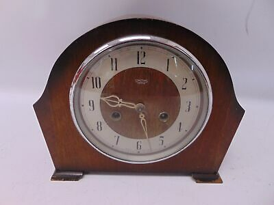 Small Antique Wood SMITHS ENFIELD Mantel Clock With Chimes Pendulum & Key - W64